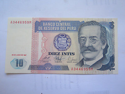 1987 PERU 10 INTIS BANK NOTE in UNCIRCULATED CONDITION