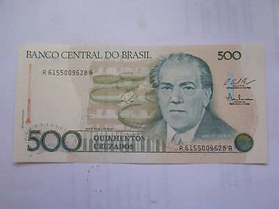 c1980 BRAZIL 500 CRUZADOS BANK NOTE in UNCIRCULATED CONDITION
