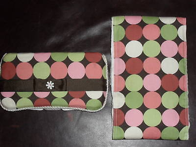 Pink & Brown Wipes Travel Case with Matching Burp Cloth