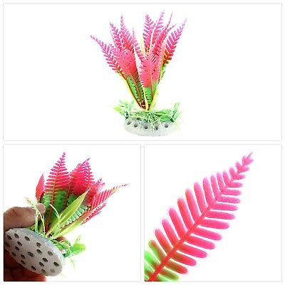 Sourcingmap Plastic Fish Tank Ceramic Base Plant Grass Hot Pink Green Ideal New