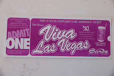 Admission ticket to Viva Las Vegas at the Sands hotel and casino in Las Vegas.