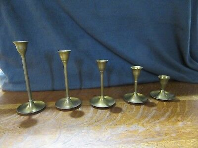 """5 Vintage Brass Taper Candle Sticks Holders-Graduating-7"""" to 2 1/2"""""""