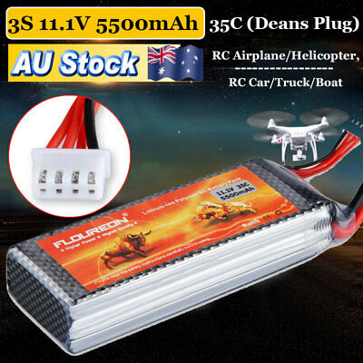 3S 11.1V 5500mAh 35C Deans Lipo Battery for RC Helicopter Airplane Car Boat New