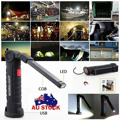 Flexible Magnetic COB+LED Rechargeable Torch Inspection Lamp Cordless Work Light
