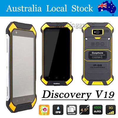Discovery V19 Unlocked Android Rugged Mobile Smartphone Dual SIM Yellow NEW