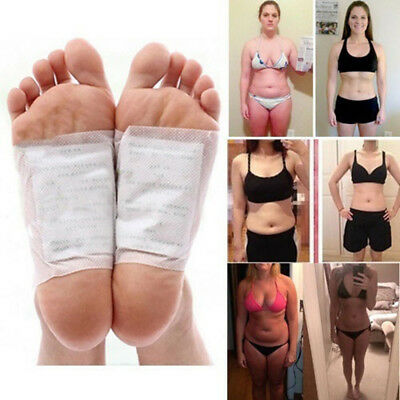 100X Detox Foot Pads Patches Body Toxins Feet Slimming Cleansing Herbal Adhesive