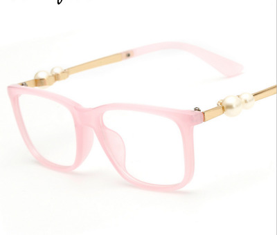Fashion Women Brown Eyeglass Frames with Pearl in temple Glasses Frames Pink RX