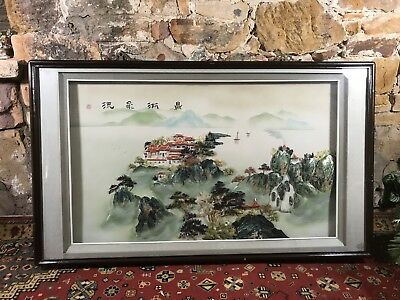 Impressive Large Vintage Oriental Wall Hanging Picture~Mother of Pearl~Chinese