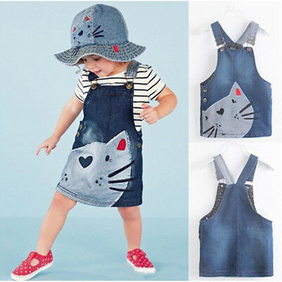 1X Denim Overalls Dresses One-Piece Baby Girls Kid Cat printed design Casual UK