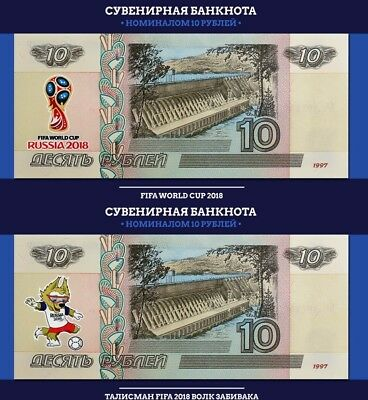 Set of 2 banknotes 2018 FIFA World Cup-Russia 10 ruble-UNC!