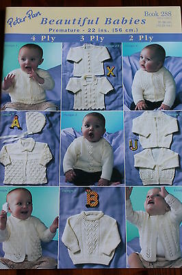 """Beautiful babies knitting pattern book 288. Premature to 22"""" chest  2, 3 & 4 ply"""