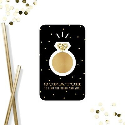 Set Of 20 - Bridal Shower Hens Night Game Scratch Off Cards Black Gold Confetti