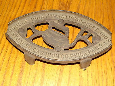 """Vintage Hot Iron Trivet Double Point """"i Want You"""" Comfort Iron Strauss Gas"""
