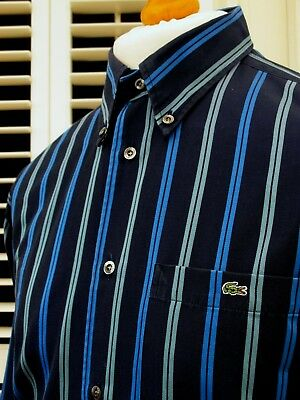 Lacoste Navy Twill Pinstripe Shirt - XL - Size 42 - Mod Ska Scooter Casuals