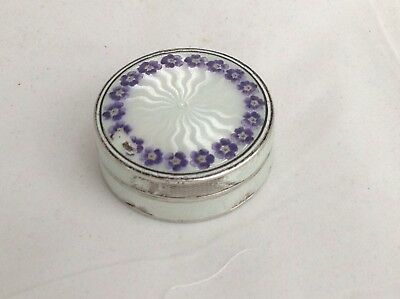 Vintage Silver And Guilloche Enamel Pill Box, German Marks - Damaged Enamel