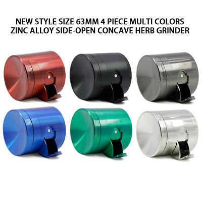 2.5inch 4 Layer Zinc Alloy Blue Side Opening Grinder Tobacco Herb Metal Crusher