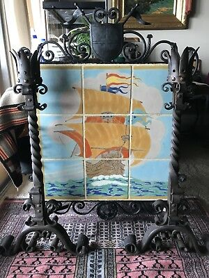 Rare c. 1930 D & M Tile Mural of a Sailing Ship Composed of 9 Eight Inch Tiles