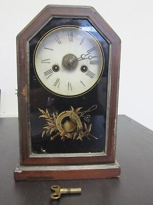 Vintage Victorian? American Shelf Clock Mantle Clock Jockey Whip inc Key Working