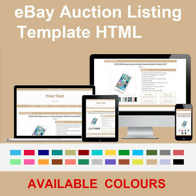 Tan Beige eBay Auction Listing Template Responsive Image Photo Gallery 2018 HTML