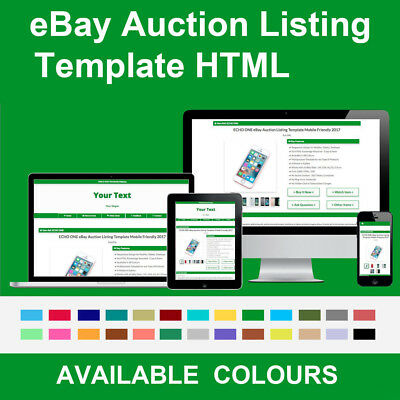 Green eBay Auction Listing Template Responsive Image Photo Gallery 2018 HTML