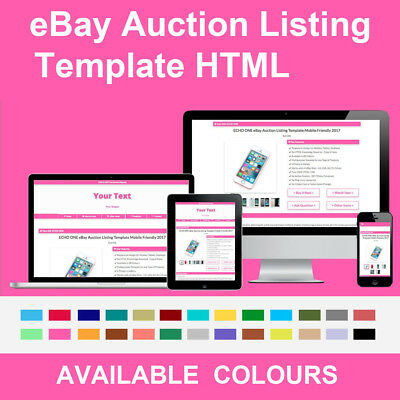 Pink eBay Auction Listing Template Responsive Image Photo Gallery 2018 HTML