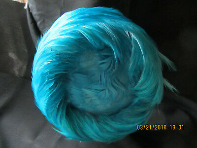 Great Vintage Women's Hat, Marked Union Made, USA,  Covered W/Turquoise Feathers