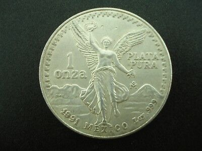 1991 Mexico Libertad 1 Troy Oz .999 Silver Bullion Coin **NO RESERVE**