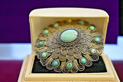 Antique Chinese natural turquoise big silverplate brooch 2 1/2 inches