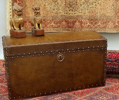19th Century Leather Dome Top Trunk