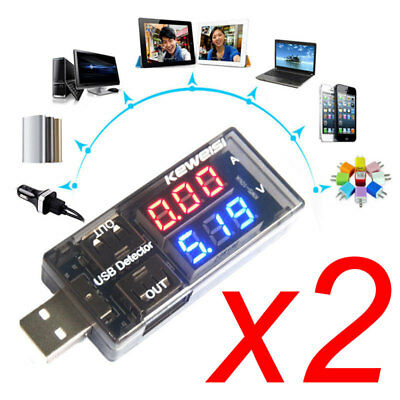 2x KEWEISI USB Charger Current Voltage Charging Detector Battery Tester Volt