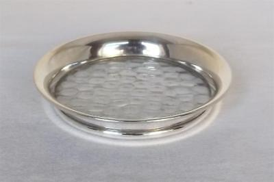 A Lovely Vintage Sterling Silver & Clear Glass Bottle Coaster Birmingham 1959.