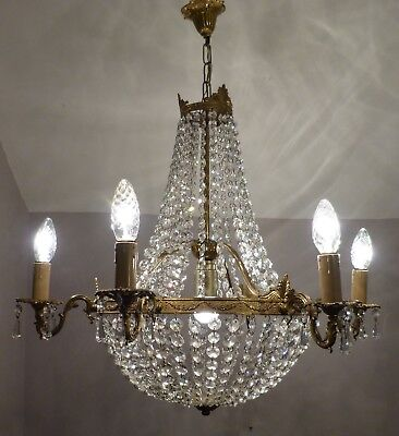 Divine French Empire Style Brass Crystal Tent & Bag Chandelier, 7 Lights