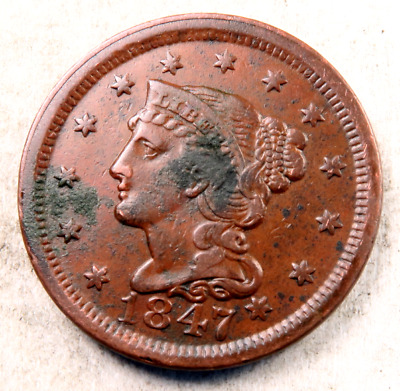 1847 Braided Hair Large Cent // AU // (LC453)