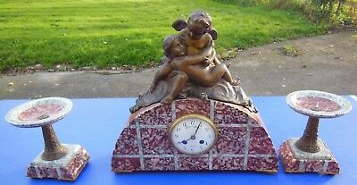 Pendulum Putti , Angel ,Marble And Regulates Movement And Dial Signed