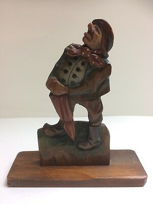 ANTIQUE BLACK FOREST CARVED WOODEN PLAQUE of a MAN WITH UMBRELLA