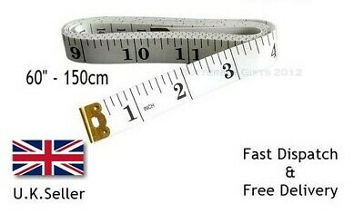 "1.5m Fabric Measuring Tape Fibreglass Tailors Dressmaking Sewing 60"" White"
