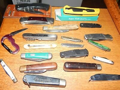 Lot Of 20 Used Knives Pocket Knife Case,imperial,buck,.kershaw, Robeson,gerber