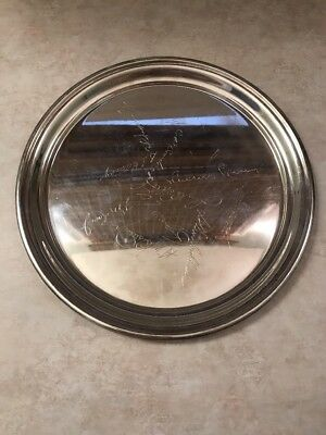 """Sterling Silver 9"""" Round Tray - Randahl - Heavy - 10 Ounces - Light Engraving"""