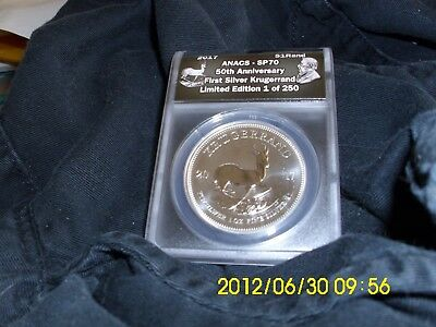 2017 S. Africa 1St Silver Krugerrand Anacs  Sp70 50Th Privy 1 Of 250 Coa & Pouch