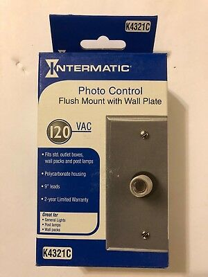 Intermatic K4321C Photo Control Flush Mount with Wall Plate NEW