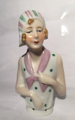 "Large 3 3/4"" Antique Germany*figural Flapper Lady Half /pin Cushion Doll German"