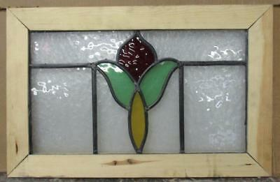 "OLD ENGLISH LEADED STAINED GLASS WINDOW Pretty Floral 19.25"" x 12.5"""