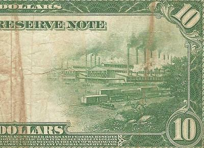 LARGE 1914 $10 DOLLAR BILL FEDERAL RESERVE NOTE BIG CURRENCY PAPER MONEY Fr 936