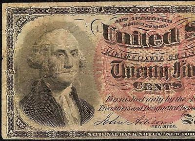 25 CENT FRACTIONAL 1869 1875 UNITED STATES NOTE CURRENCY OLD PAPER MONEY Fr 1307