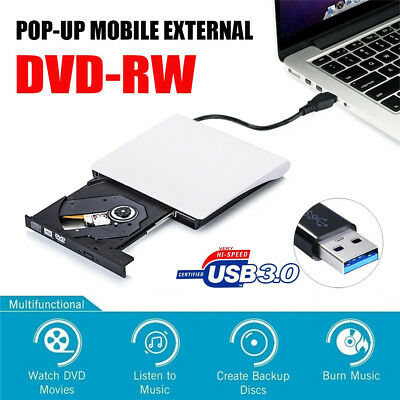 External USB 3.0 CD ROM DVD RW Optical Drive Burner Reader Player For PC Laptop
