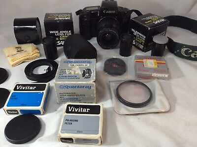 Vintage Canon Camera Large Lot Of Photo Accessories Eyepieces, Cases & More.