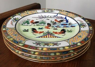 Set of 4 Chinese Porcelain Dinner Plates Hand Painted With Roosters Gold Trim