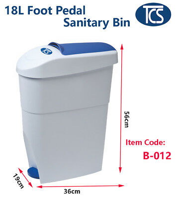 TCS 2 Units x White/ Blue Sanitary Waste Disposal Bin with Foot Pedal 18L