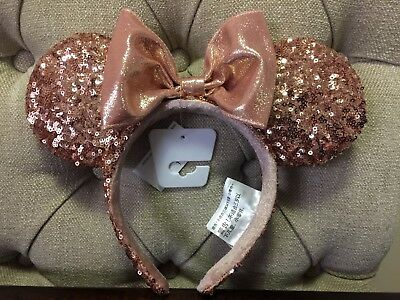New Authentic Disney Rose Gold Mickey Mouse Ears from Disneyland with tags still