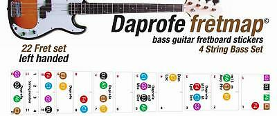 LEFT HANDED Bass Guitar Fretboard Note Map Fits Full Size 4 String Bass Guitars